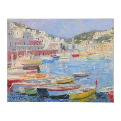 "Nino Pippa Oil Painting ""Ponza - The Harbor"""