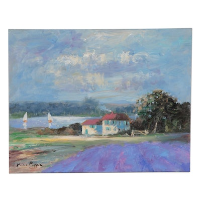 """Nino Pippa Oil Painting """"Provence - Cottage in the Rhone Valley"""""""