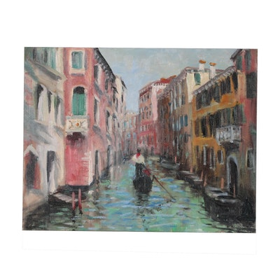 "Nino Pippa Oil Painting ""Venice - Side Canal"""