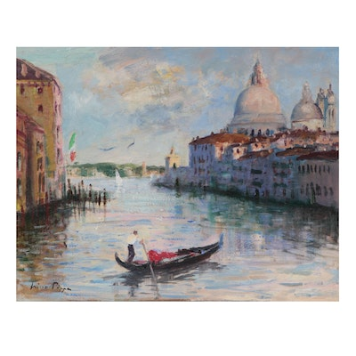 """Nino Pippa Oil Painting """"Venice - Gondolier on the Grand Canal"""""""
