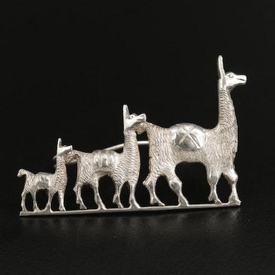 Sterling Silver Graduated Llamas Brooch