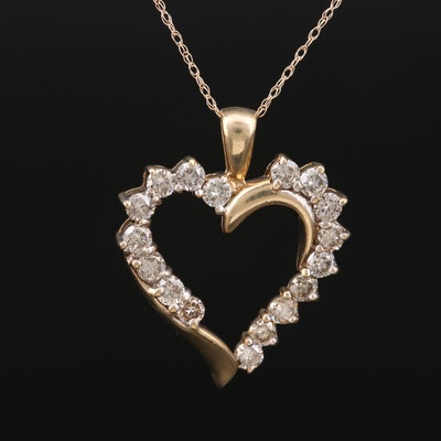 10K Diamond Heart Pendant on 14K Rope Chain