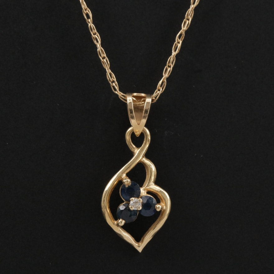 14K Yellow Gold Sapphire and Cubic Zirconia Pendant Necklace
