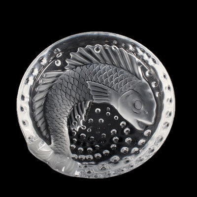 """Lalique """"Concarneau"""" Frosted Crystal Ash Tray"""