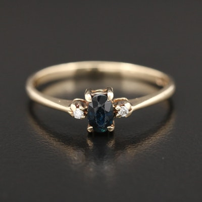 10K Yellow Gold Sapphire and Diamond Ring