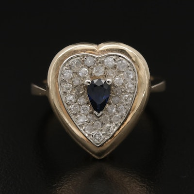 14K Gold Sapphire and Diamond Heart Ring