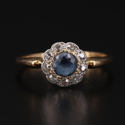 Edwardian 18K Sapphire and Diamond Ring with Platinum Accents