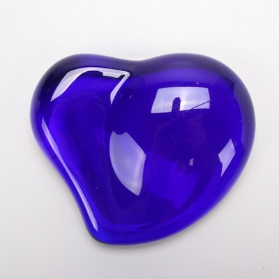 Elsa Peretti for Tiffany & Co. Blue Glass Heart Paperweight