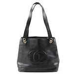 Chanel CC Black Caviar Leather Shoulder Bag