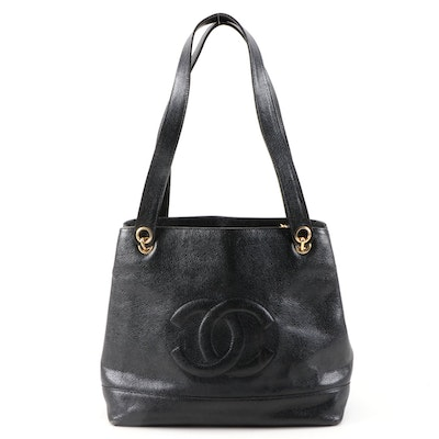 Chanel CC Black Caviar Leather Shoulder Bag
