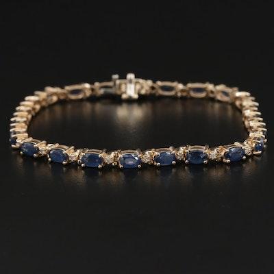 14K Gold Sapphire and Diamond Bracelet