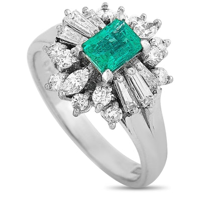Platinum Diamond and Emerald Ring