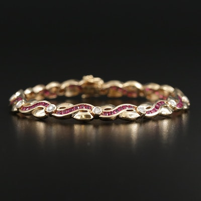 14K Diamond and Ruby Bracelet
