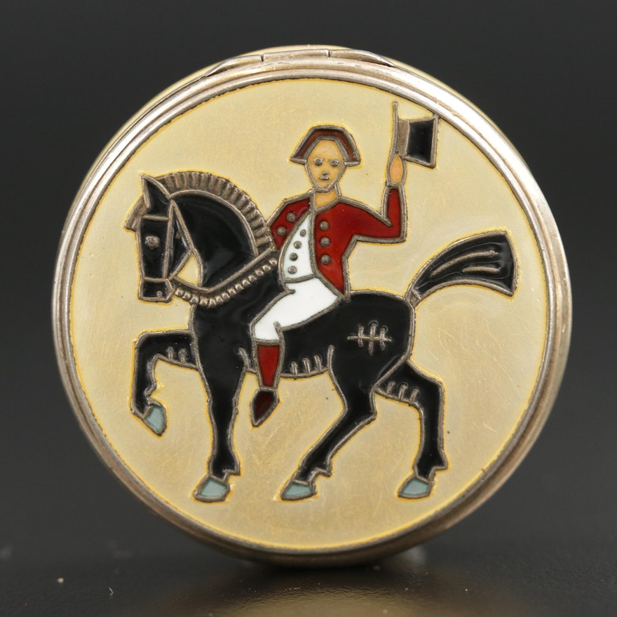 Sterling Silver Cloisonné Pill Box with Equestrian Motif