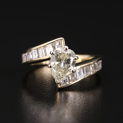 14K Gold 2.31 CTW Diamond Bypass Ring
