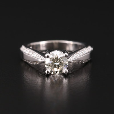 14K White Gold 1.29 CTW Diamond Ring