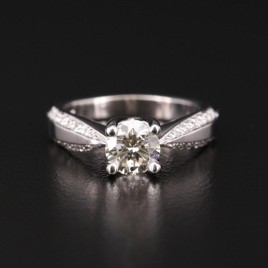 14K White Gold 1.29 CTW Diamond Ring