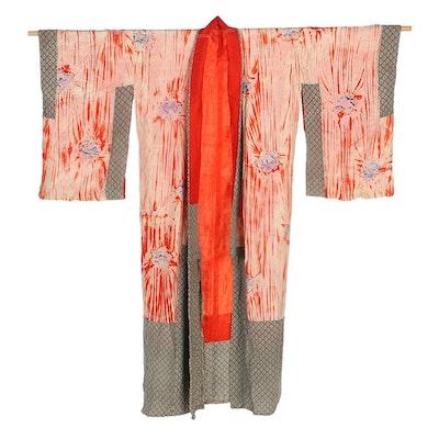 Japanese Silk Floral Shibori and Ikat Kimono, Shōwa Period