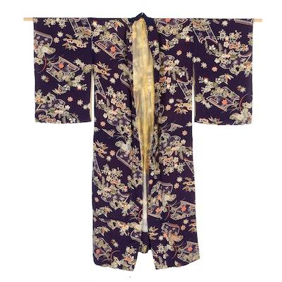 Japanese Sayagata and Floral Silk Kimono, Taishō Era
