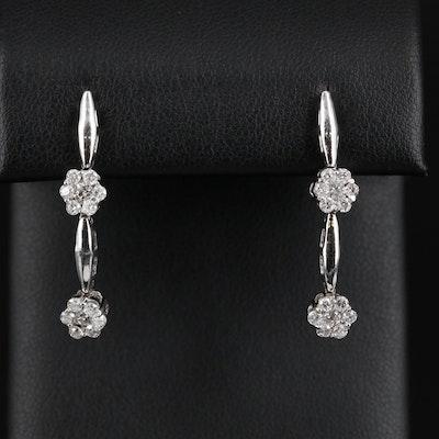 14K White Gold Diamond Dangle Earrings