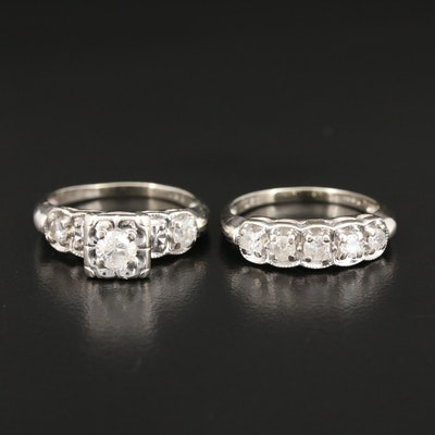 14K White Gold Diamond and Cubic Zirconia Ring and Band Set