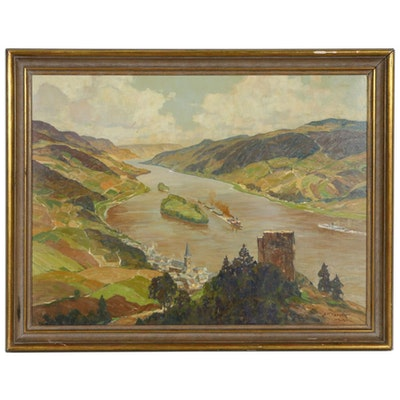 """Erich Mercker Oil Painting """"Rhein mit Lorch"""", Early 20th Century"""
