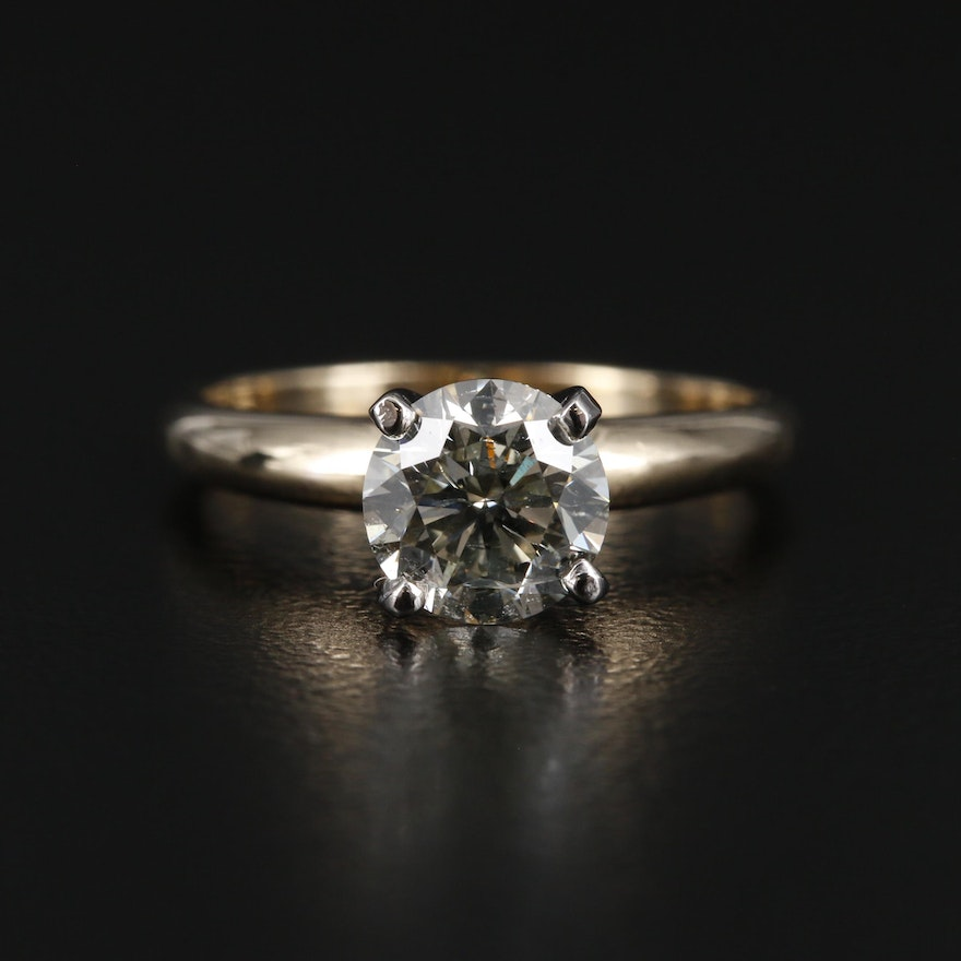 14K Yellow Gold 0.98 CT Diamond Solitaire Ring