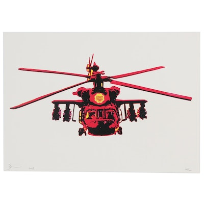 Death NYC Pop Art Offset Lithograph of Helicopter with Chupa Chups Brand