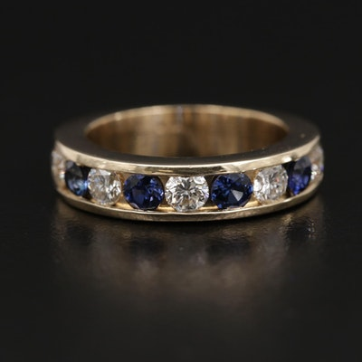 14K Channel Set Diamond and Sapphire Band