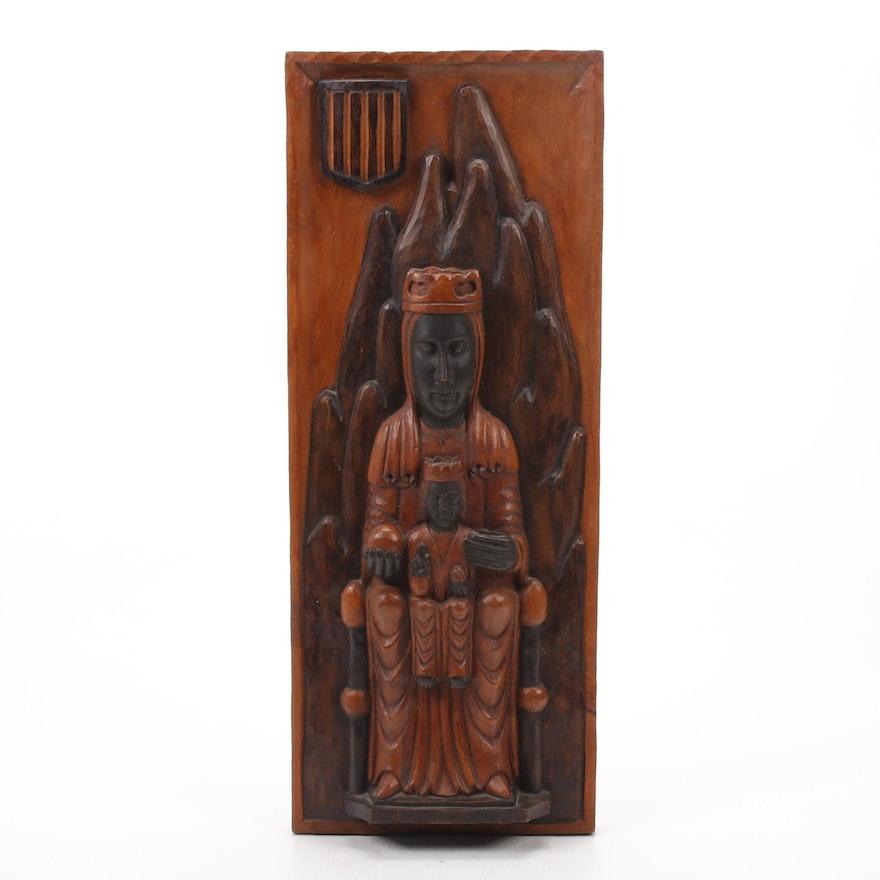 Virgin of Montserrat High Relief Wood Carving
