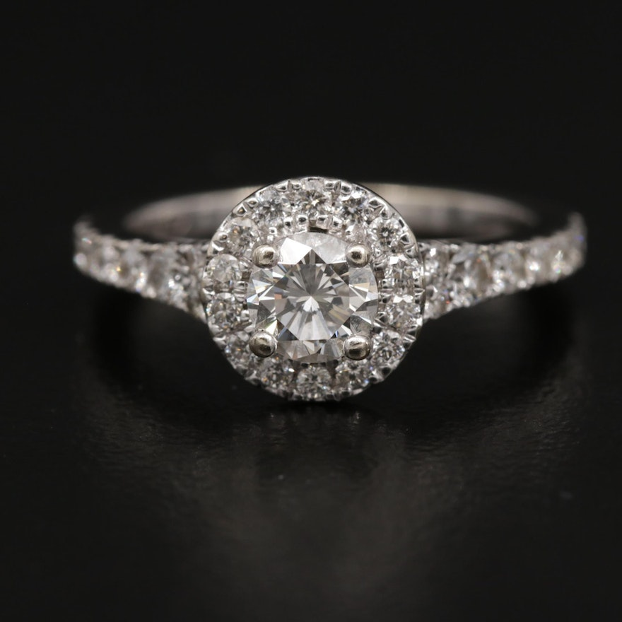 14K Gold Diamond Ring with Halo