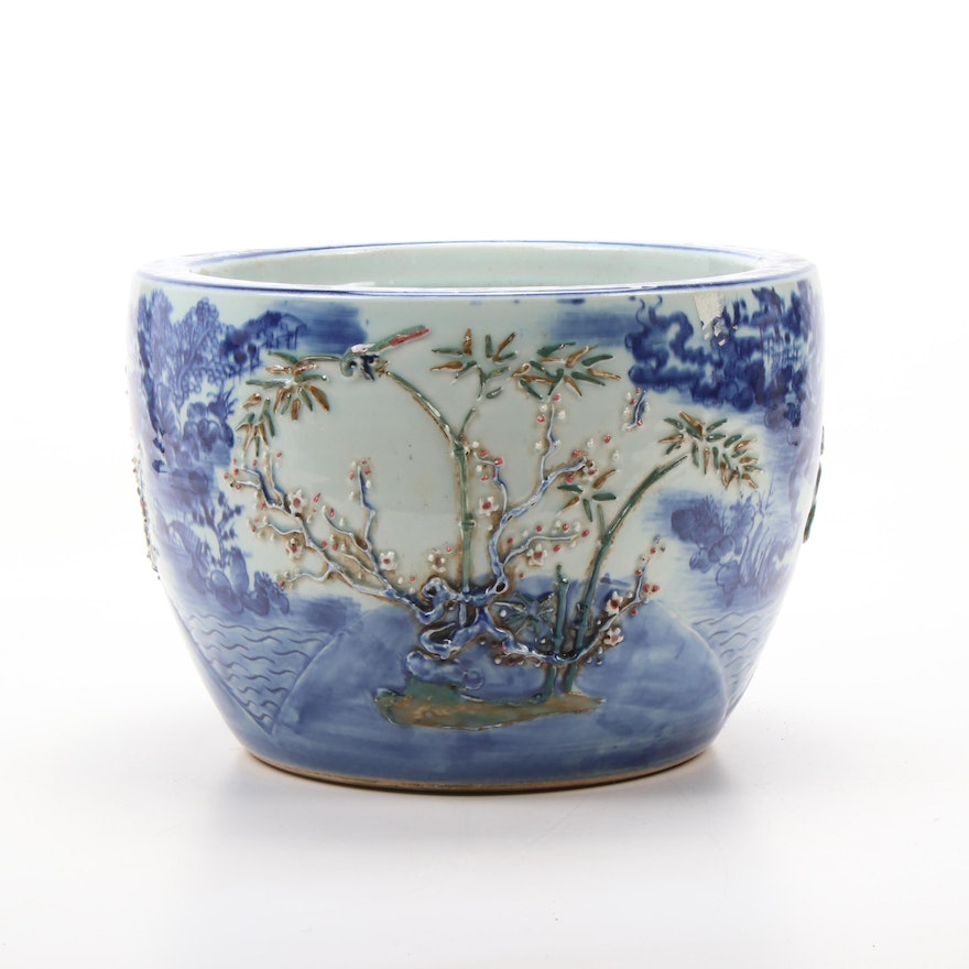 East Asian Blue and White Ceramic Planter with Flowering Tree Motif