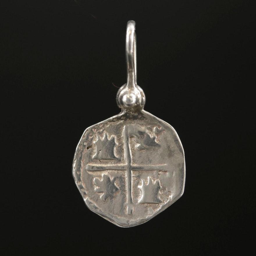 Sterling Silver Spanish 1-Real Silver Coin Replica Pendant