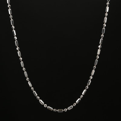 18K White Gold Beaded Chain