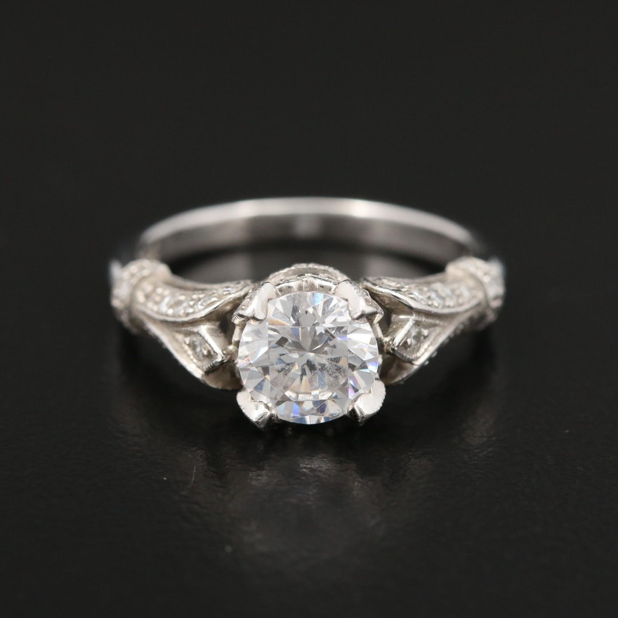 Platinum Cubic Zirconia and Diamond Semi-Mount Ring