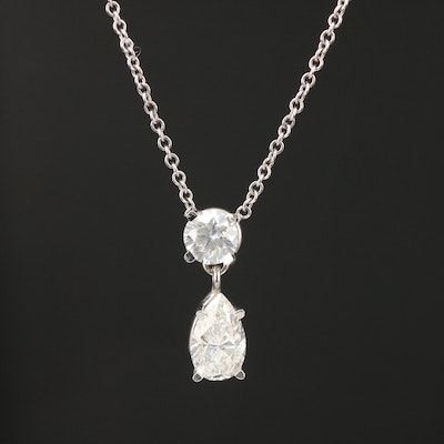 14K White Gold 1.34 CTW Diamond Pendant Necklace
