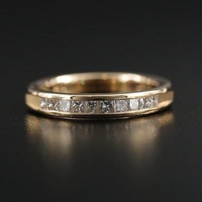 18K Gold Diamond Channel Band