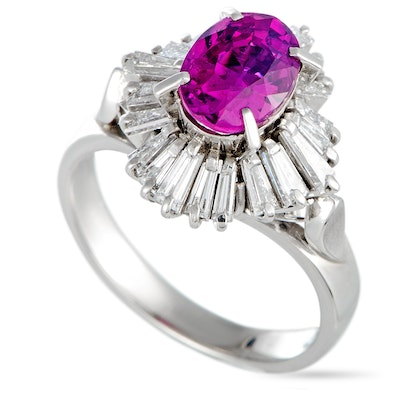 Platinum Diamond and Ruby Ring