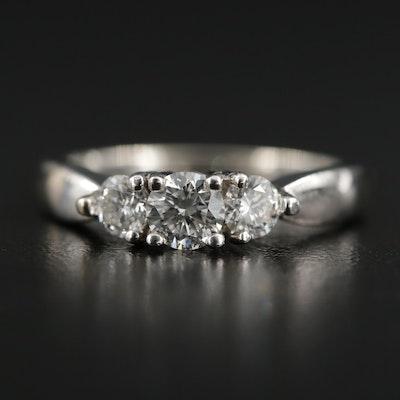 14K Gold Diamond Three Stone Ring