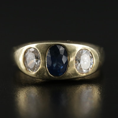 14K Gold Sapphire and Diamond Gypsy Ring
