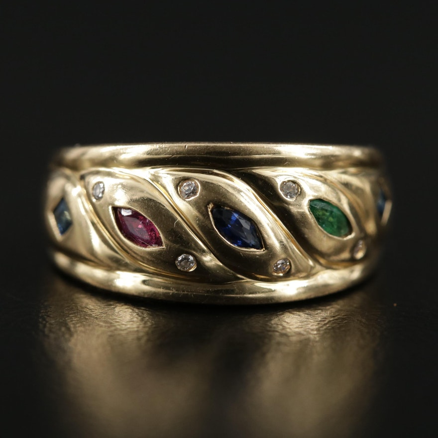 18K Gold Sapphire, Ruby, Emerald and Diamond Ring