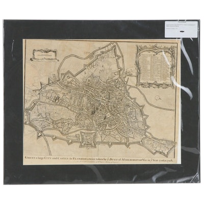 Isaac Basire Engraved Map of Ghent, circa 1750