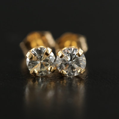 14K Gold 0.66 CTW Diamond Solitaire Earrings