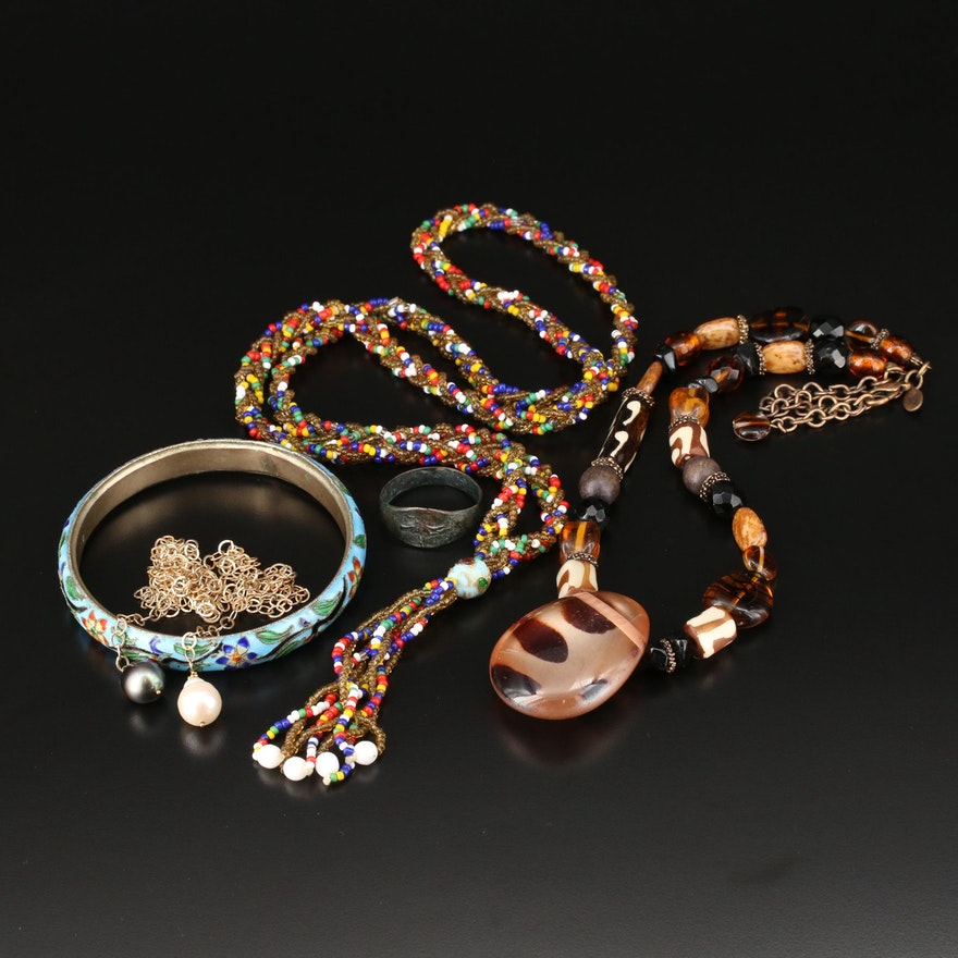 Jewelry Assortment Featuring Replica of an Ancient Ring and an Enamel Bracelet
