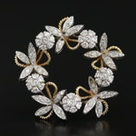 Lunati 18K Gold 2.38 CTW Diamond Foliate Brooch
