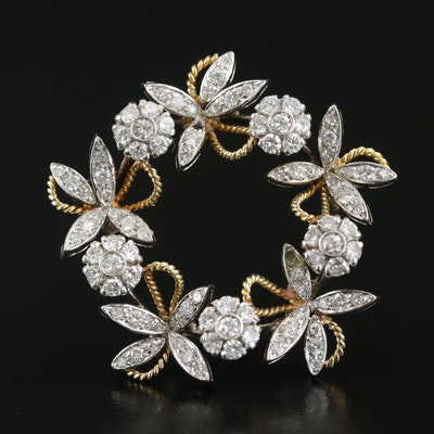Lunati 18K Gold 2.38 CTW Diamond Foliate Brooch