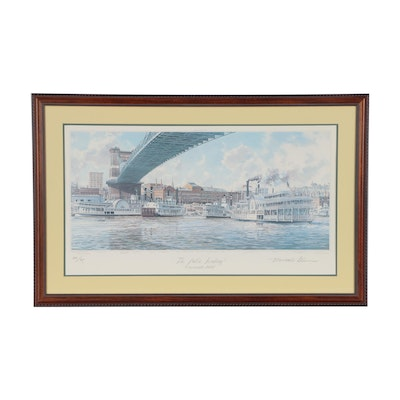 "Michael Blaser Offset Lithograph ""The Public Landing: Cincinnati, 1900"""