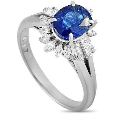 Platinum Diamond and 1.47 CT Sapphire Ring