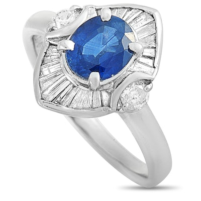Platinum Diamond and 1.31 CT Sapphire Ring