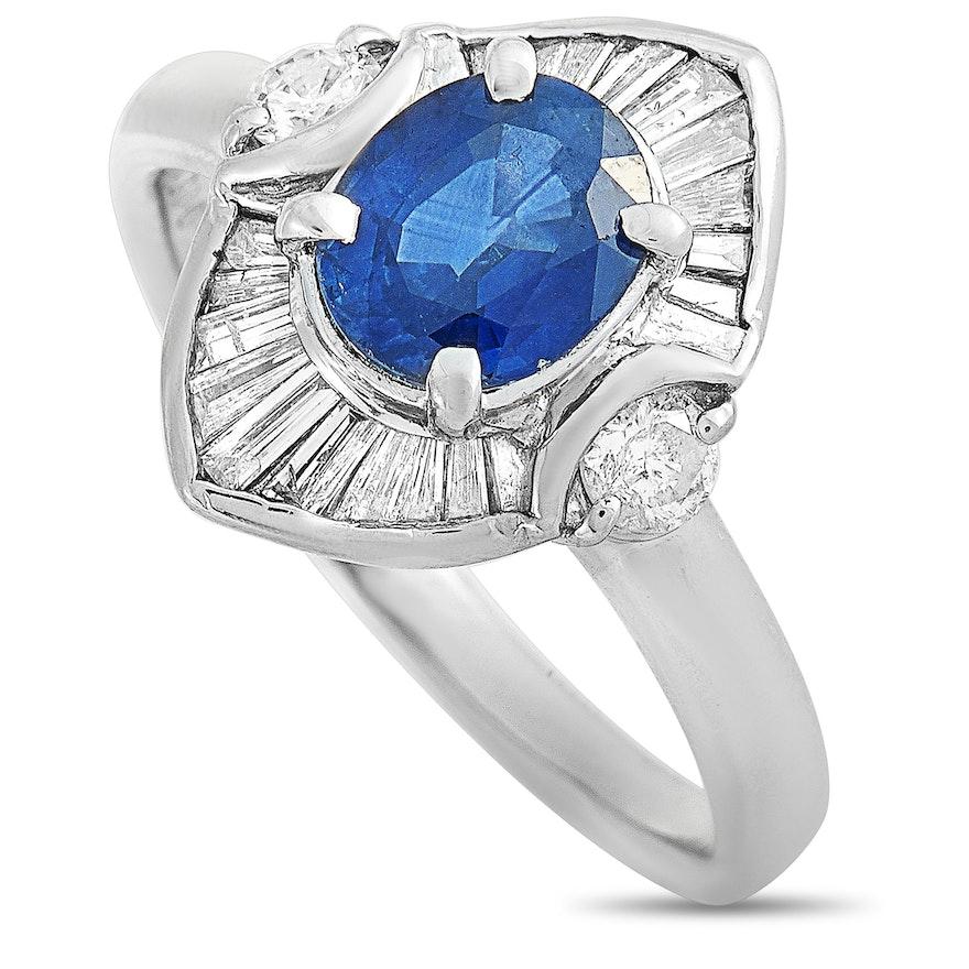 Platinum Diamond and 1.31 CT Sapphire Ring